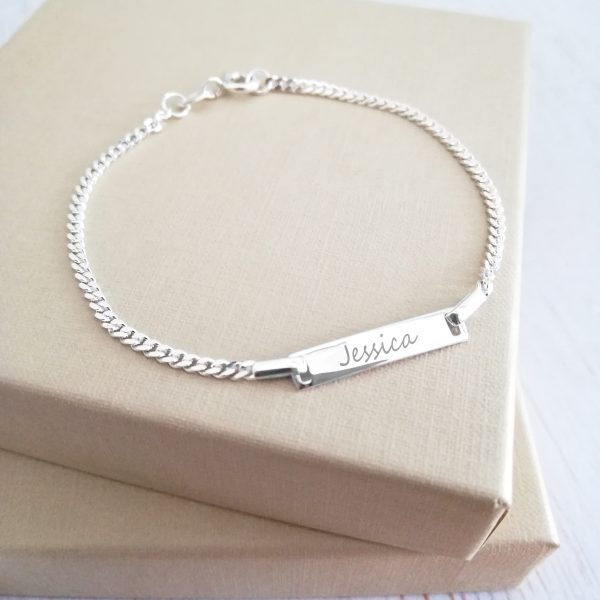 Sterling Silver Engraved Children's Curb Chain Bracelet