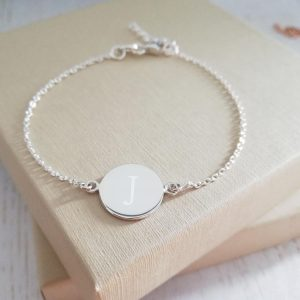 Sterling Silver Engraved Dainty Coin Bracelet