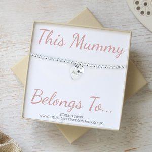 Sterling Silver Engraved Slider Bracelet - 'This Mummy Belongs To...'