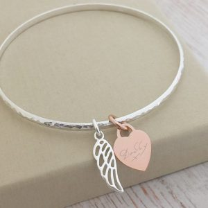 Sterling Silver Hammered Bangle - Silver Cutout Wing & Rose Gold Heart With Handwriting