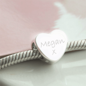 Sterling Silver Engraved 'Just Words' Heart Bead