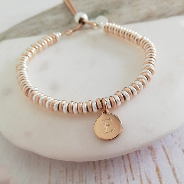 Sterling Silver & Rose Gold Vermeil Sweetie Slider Bracelet - Rose Gold Initial Disc