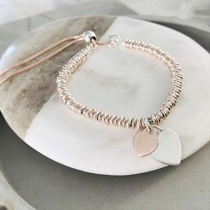 Sterling Silver & Rose Gold Vermeil Sweetie Slider Bracelet - Duo Heart Charms