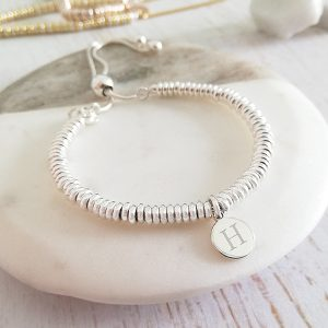 Sterling Silver Sweetie Slider Bracelet - Silver Initial Disc