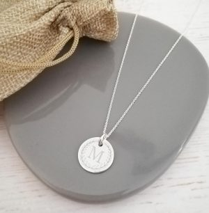 Sterling Silver Engraved Coin Necklace