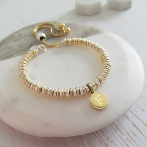 Sterling Silver & Yellow Gold Vermeil Sweetie Slider Bracelet - Yellow Gold Initial Disc