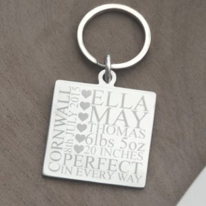 Stainless Steel Engraved 'The Day You Were Born' Square Keyring