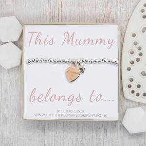 Sterling Silver Slider Bracelet & Rose Gold Vermeil Engraved Heart Charm - 'This Mummy Belongs To...'