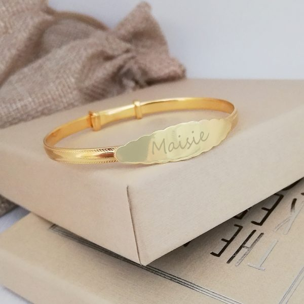 Yellow Gold Vermeil Baby Bangle With Scalloped Design