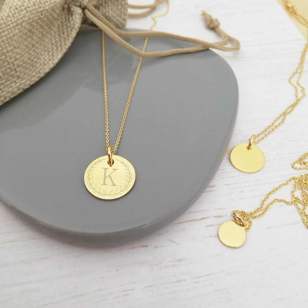 Yellow Gold Vermeil Engraved Coin Necklace