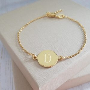 Yellow Gold Vermeil Engraved Dainty Coin Bracelet