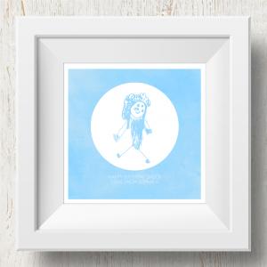 Personalised 'Doodle Artwork' Print - Inverse Circle Design In Blue