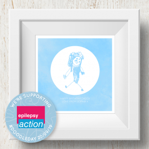 Personalised 'Doodle Artwork' Print - Inverse Circle Design In Blue