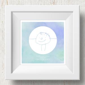 Personalised 'Doodle Artwork' Print - Inverse Circle Design In Blue/Green