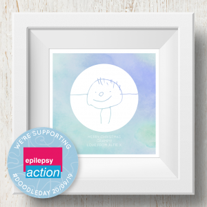 Personalised 'Doodle Artwork' Print - Inverse Circle Design In Blue/Green
