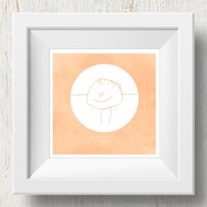 Personalised 'Doodle Artwork' Print - Inverse Circle Design In Orange