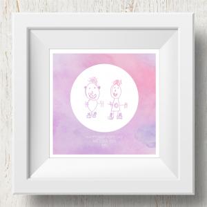 Personalised 'Doodle Artwork' Print - Inverse Circle Design In Pink/Purple