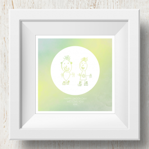 Personalised 'Doodle Artwork' Print - Inverse Circle Design In Yellow/Green