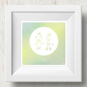 Personalised 'Doodle Artwork' Print - Inverse Circle Design In Yellow/Green
