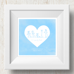Personalised 'Doodle Artwork' Print - Inverse Heart Design In Blue