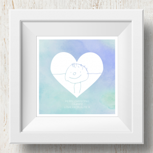 Personalised 'Doodle Artwork' Print - Inverse Heart Design In Blue/Green