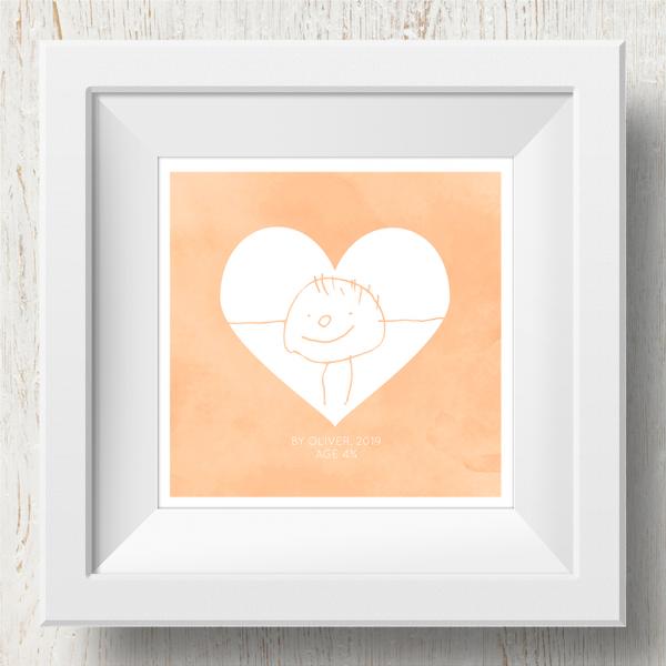 Personalised 'Doodle Artwork' Print - Inverse Heart Design In Orange