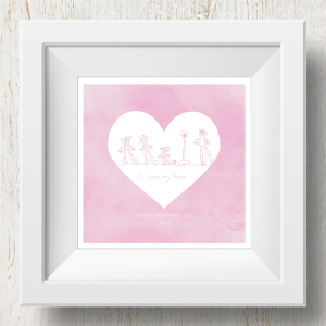 Personalised 'Doodle Artwork' Print - Inverse Heart Design In Pink