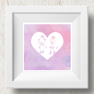 Personalised 'Doodle Artwork' Print - Inverse Heart Design In Pink/Purple