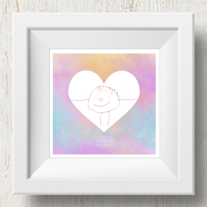 Personalised 'Doodle Artwork' Print - Inverse Heart Design In Rainbow