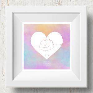 Personalised 'Doodle Artwork' Print - Inverse Heart Design In Rainbow