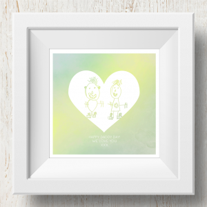Personalised 'Doodle Artwork' Print - Inverse Heart Design In Yellow/Green