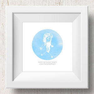 Personalised 'Doodle Artwork' Print - Circle Design In Blue