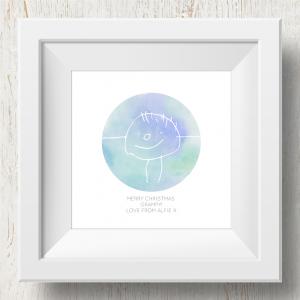 Personalised 'Doodle Artwork' Print - Circle Design In Blue/Green