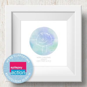 Personalised 'Doodle Artwork' Print - Circle Design In Blue/Green