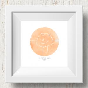 Personalised 'Doodle Artwork' Print - Circle Design In Orange