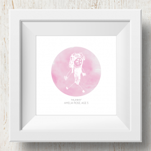 Personalised 'Doodle Artwork' Print - Circle Design In Pink