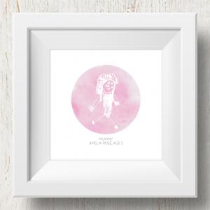Personalised 'Doodle Artwork' Print - Circle Design In Pink