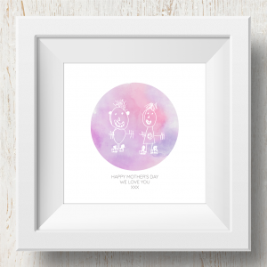 Personalised 'Doodle Artwork' Print - Circle Design In Pink/Purple