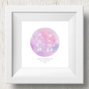 Personalised 'Doodle Artwork' Print - Circle Design In Pink/Purple