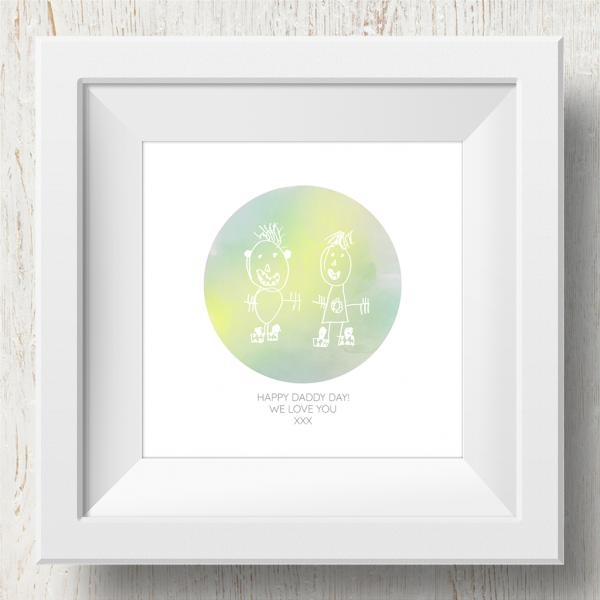 Personalised 'Doodle Artwork' Print - Circle Design In Yellow/Green