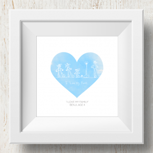 Personalised 'Doodle Artwork' Print - Heart Design In Blue