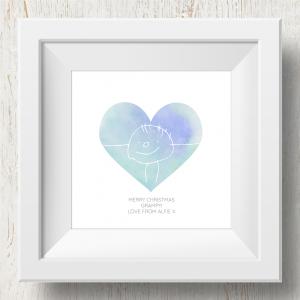 Personalised 'Doodle Artwork' Print - Heart Design In Blue/Green