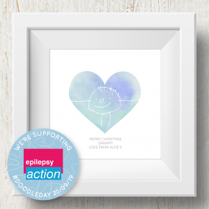 Personalised 'Doodle Artwork' Print - Heart Design In Blue/Green