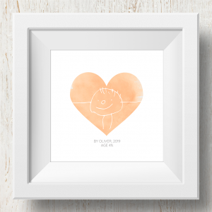 Personalised 'Doodle Artwork' Print - Heart Design In Orange
