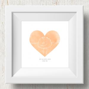 Personalised 'Doodle Artwork' Print - Heart Design In Orange