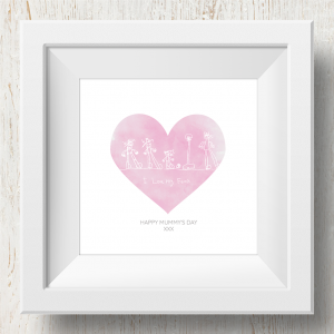 Personalised 'Doodle Artwork' Print - Heart Design In Pink