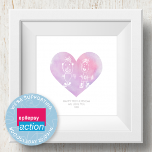 Personalised 'Doodle Artwork' Print - Heart Design In Pink/Purple
