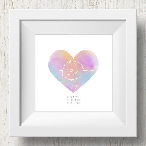 Personalised 'Doodle Artwork' Print - Heart Design In Rainbow