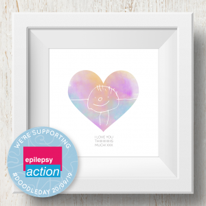Personalised 'Doodle Artwork' Print - Heart Design In Rainbow
