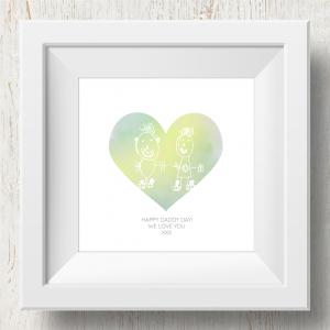 Personalised 'Doodle Artwork' Print - Heart Design In Yellow/Green